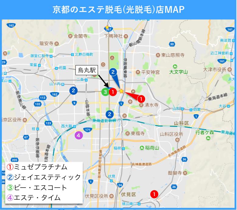 京都 脇脱毛 地図